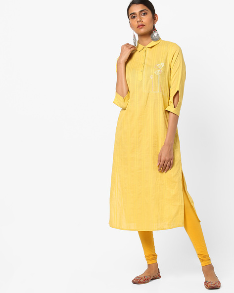 Self-Striped Kurta With Floral Embroidery By AJIO ( Yellow )