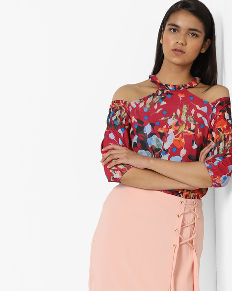 Floral Print Cold-Shoulder Top By AJIO ( Red )