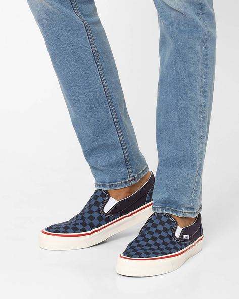 Checked Slip-On Canvas Shoes By Vans ( Navy )