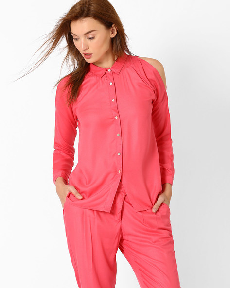 Shirt With Cold-Shoulder Sleeves By AJIO ( Pink )