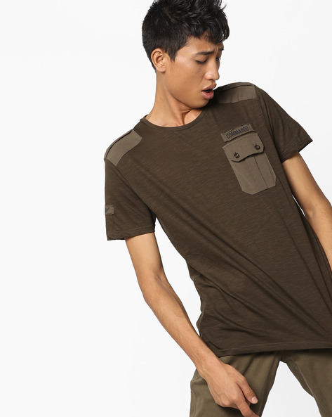 Heathered T-shirt With Flap Pocket By AJIO ( Olive )