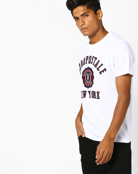 Crew-Neck T-shirt With Applique By Aeropostale ( Bleach )