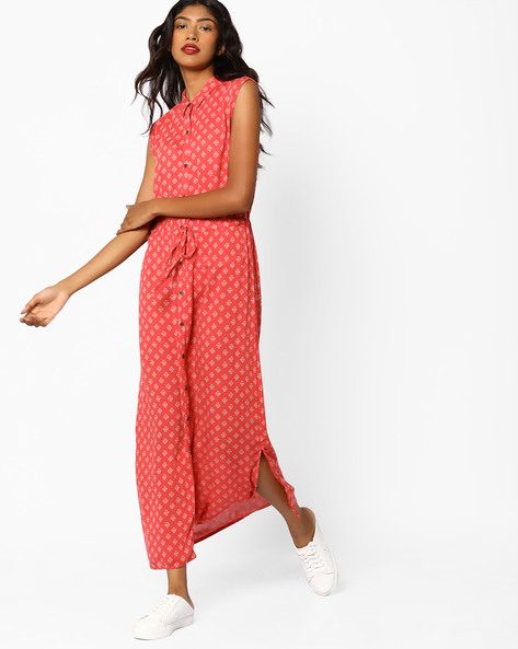 Sleeveless Tie-Front Maxi Dress By BOSSINI ( Pink )