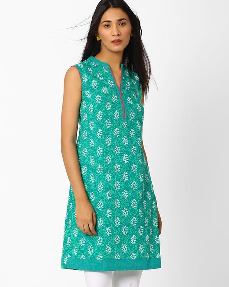 Printed Kurta With Mandarin Collar By AJIO ( Teal )