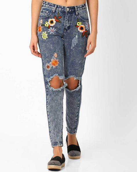 Distressed Slim Jeans With Embroidery By Glamorous ( Blue )