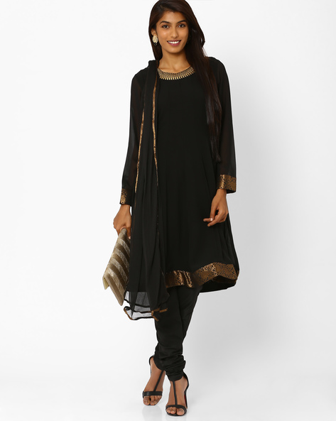 Embroidered Churidar Kurta With Dupatta By AJIO ( Black ) - 460001834003