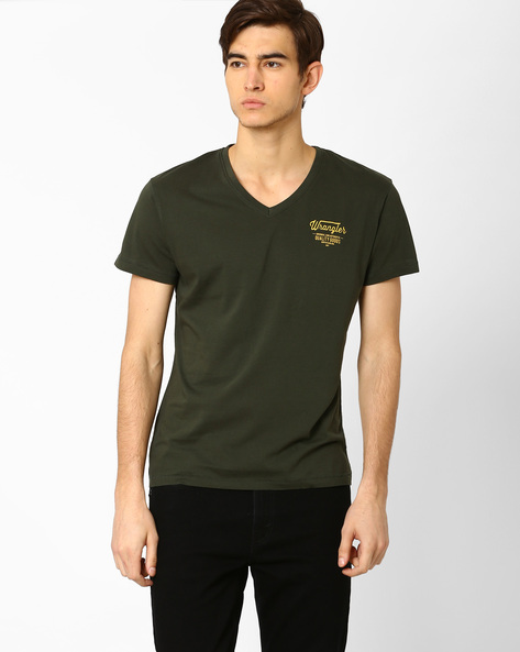 V-neck Slim Fit T-shirt By WRANGLER ( Green )