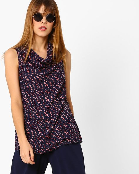 Sleeveless Top With Cowl-Neck By Annabelle By Pantaloons ( Navy )