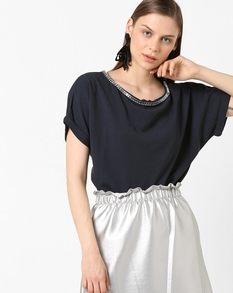 Embellished Top With Upturned Sleeves By Project Eve WW Evening ( Darkgrey )