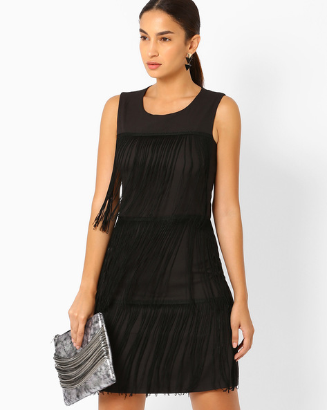 Bodycon Dress With Tiered Fringes By AJIO ( Black )