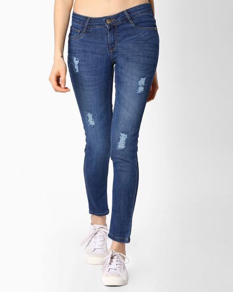 Lightly Distressed Slim-Fit Jeans By KRAUS ( Mediumblue )