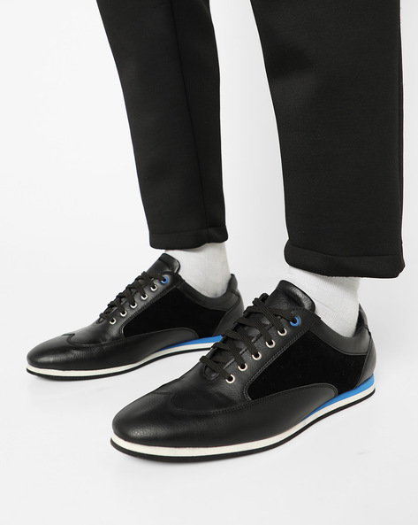Wingtip Lace-Up Casual Shoes By Funk ( Black )