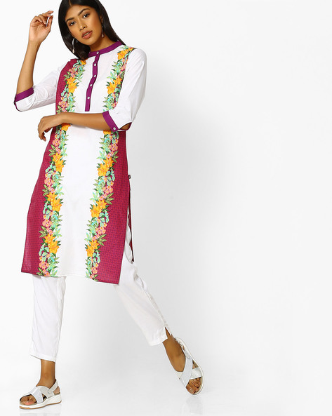 Floral Print Kurta With Mandarin Collar By Juniper ( Wine )