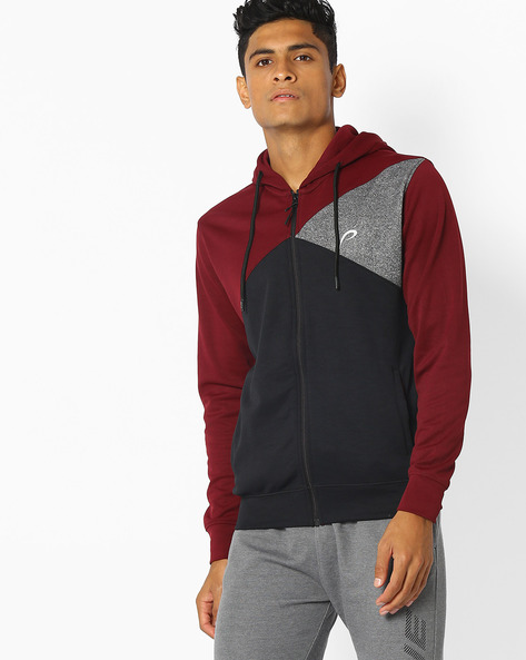 Cut & Sew Colourblock Hooded Sweatshirt By PROLINE ( Maroonburg )