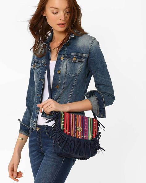 Sling Bag With Tassels By Lino Perros ( Blue )
