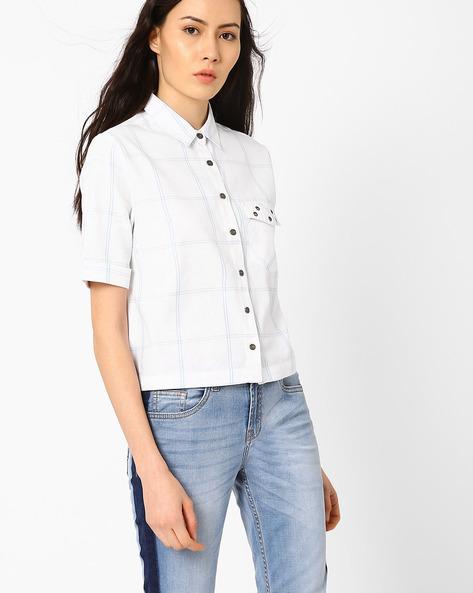 Yarn-Dyed Checked Shirt By AJIO ( White )