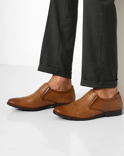 Genuine Leather Textured Slip-on Formal Shoes By VALENTINO ( Brown )