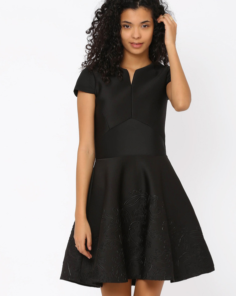 Fit & Flare Dress With Jacquard By FIG ( Black )
