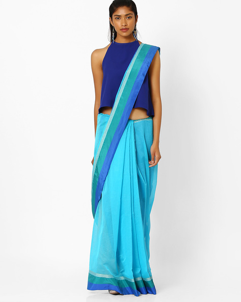 Striped Saree With Contrast Border By Amori ( Blue )