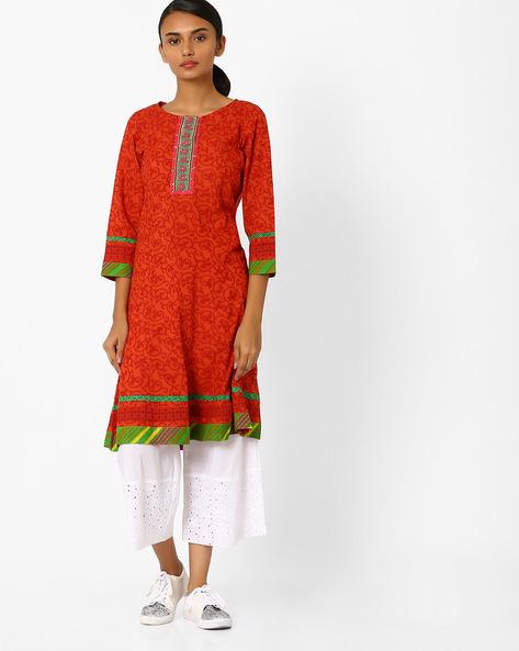 Printed Kalidar A-line Kurta By Jiyaa ( Orange )