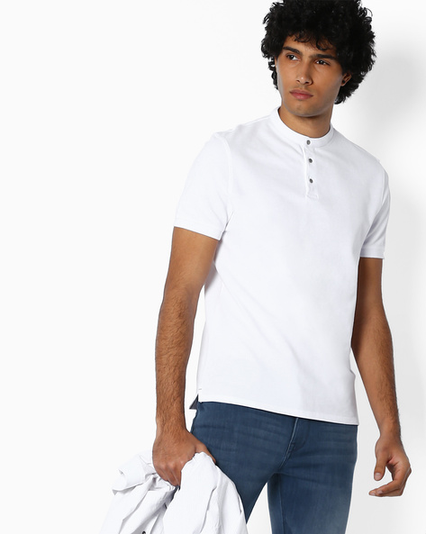 Cotton T-shirt With Band Collar By SELECTED ( Cobalt )
