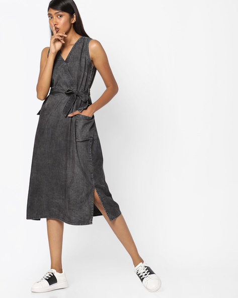 Woven Sheath Dress With Tie-Up Waist By Tokyo Talkies ( Black )