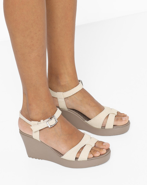 Ankle-Strap Wedges With Buckle Closure By CROCS ( Lgtgrey )