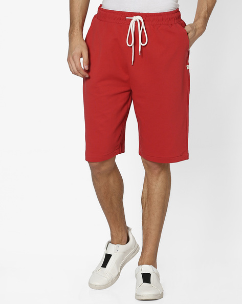 Slim Fit Heathered Drawstring Shorts By Pepe Jeans ( Red )