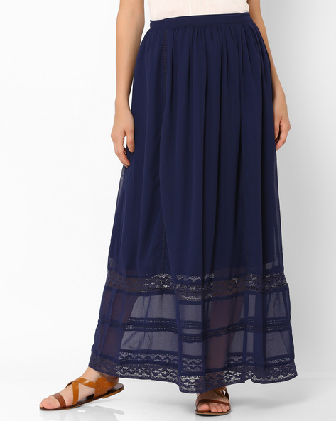 Maxi Skirt With Embroidery By Oxolloxo ( Blue )