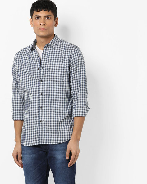 Checked Shirt With Patch Pocket By AJIO ( Grey ) - 460153189001