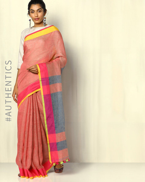 Handloom Bengal Pure Linen Saree With Tassels By Indie Picks ( Multicolour )