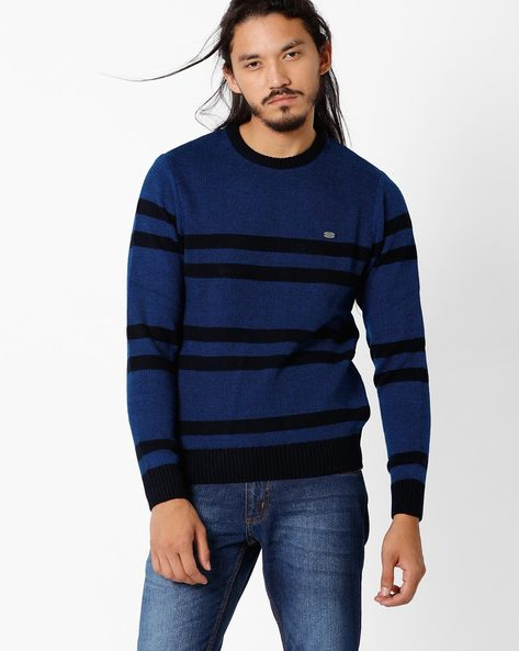 Striped Regular Fit Sweater By NETPLAY ( Navy )