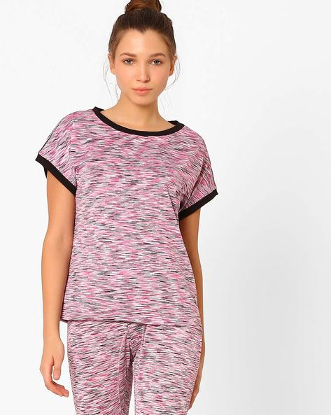 Space-Dyed T-shirt With Extended Sleeves By AJIO ( Pink )