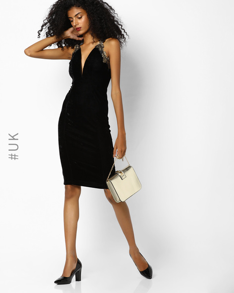 Bodycon Dress With Plunge Neckline By Rare London ( Black )