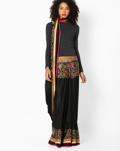 Saree With Contrast Border By Vastrangi ( Black )