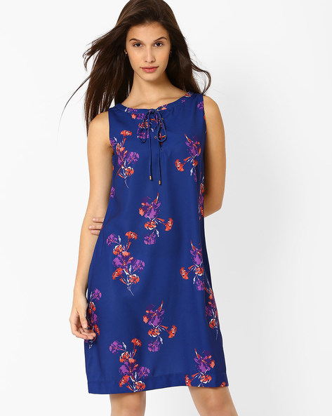 Floral Print Shift Dress By AJIO ( Navyblue )