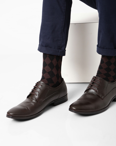 Leather Lace-Up Formal Shoes By RED CHIEF ( Brown )