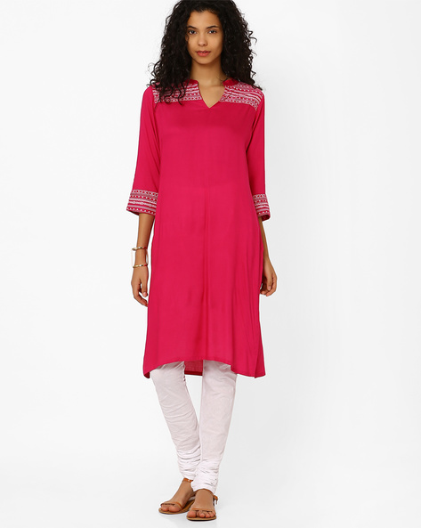 Churidar Kurta With Embroidery By AVAASA SET ( Pink )