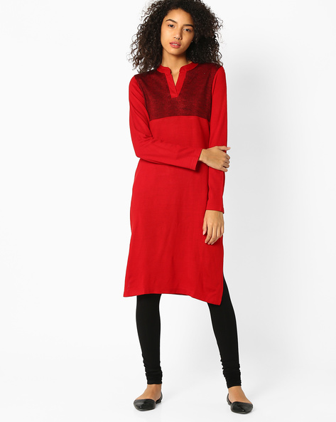 Kurta With Contrast Bodice By AVAASA MIX N' MATCH ( Red )