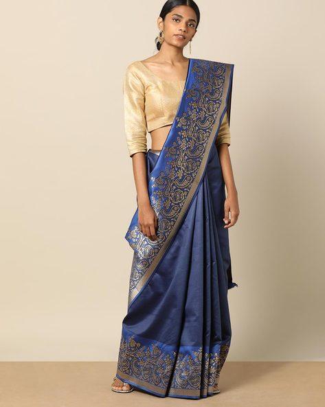Resham Saree With Geometric Buti & Ornate Border By Pretty Woman ( Blue )