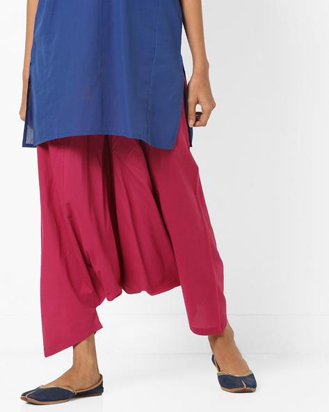 Harem Pants With Drawstring Waist By AJIO ( Magenta )