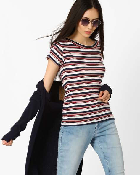 Striped Rib-Knit Top By Only ( Indigo )