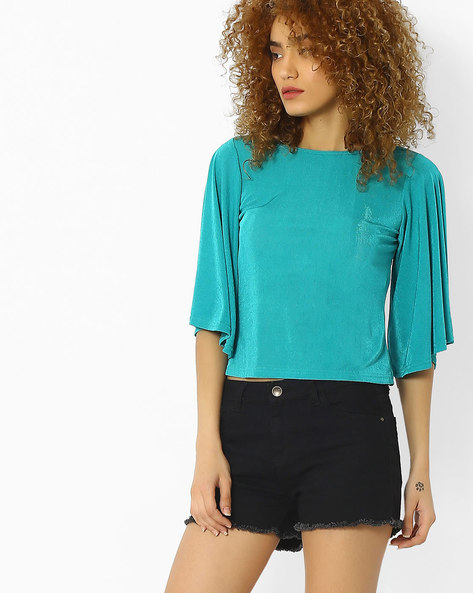 Crop Top With Batwing Sleeves By And ( Aqua )