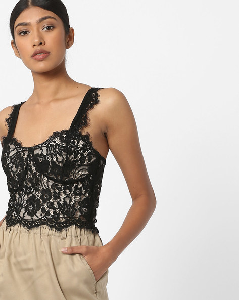 Lace Bralette Top By Vero Moda ( Black )