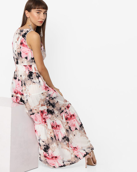 Floral Print Empire-Waist Dress By Ginger By Lifestyle ( Pink )