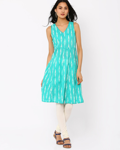 Printed Dress By AJIO ( Teal )