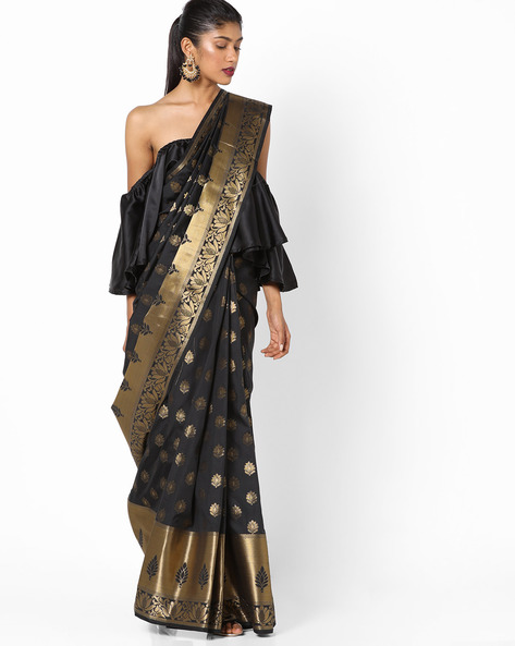 Banarasi Art Silk Zari Woven Saree By Parmita ( Black )