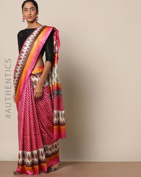 Handloom Pure Silk Tussar Printed Saree By Indie Picks ( Multi ) - 460146998001