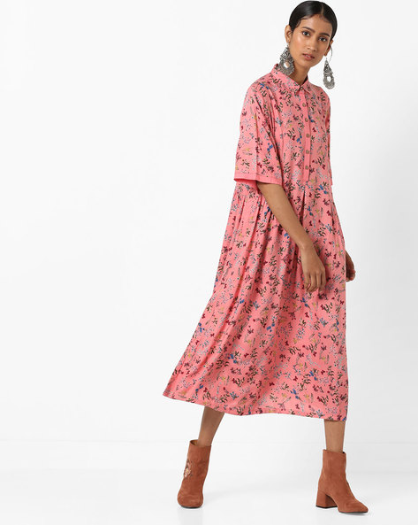 Floral Print Midi Dress By AJIO ( Coral )