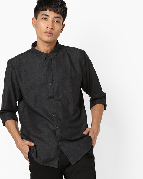 Speckled Print Slim Fit Shirt With Patch Pocket By BASICS ( Black )